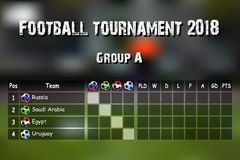 Football results table. Countries participating to the international soccer tournament 2018 group A. Vector illustration Royalty Free Stock Photography