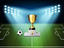 Football reward 1st . Design for soccer champion. Stock Images