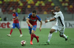 Football Romania's Liga 1– Steaua Bucuresti vs. Astra Giurgiu. Steaua Bucharest's Adrian Popa and Astra Giurgiu's Ricardo Alves vies for the ball during a Stock Images