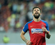 Football Romania's Liga 1– Steaua Bucuresti vs. Astra Giurgiu. Steaua Bucharest's Gabriel Enache in action during a soccer match Steaua Bucharest vs. Astra Royalty Free Stock Photos
