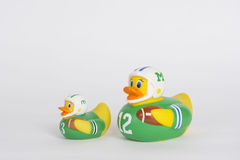 Football rubber ducks in a row Royalty Free Stock Images