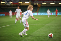 Football Russia. Renat Yanbaev of Russia is seen in action during their group 4 2010 World Cup Qualifiying match at The Millennium Stadium in Cardiff, Wales Royalty Free Stock Images
