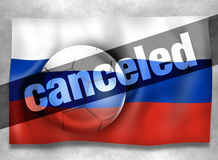 Football Russia canceled. Creative Graphic Illustration Design Stock Photos
