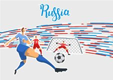 Football and Russia. Colored lines poster with lettering on gray background. Flat vector illustration. Horizontal. Football and Russia. Colored lines poster Royalty Free Stock Photos
