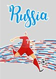 Football and Russia. Colored lines poster with lettering on gray background. Flat vector illustration. Vertical. Football and Russia. Colored lines poster with Stock Photos