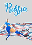 Football and Russia. Colored lines poster with lettering on gray background. Flat vector illustration. Vertical. Football and Russia. Colored lines poster with Stock Image