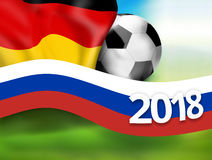 2018 football russia germany soccer flag background 3D. Graphic illustration design image Royalty Free Stock Photography