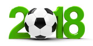 Football Russia 2018  2. Green 2018 with football isolated on white background, represents World Cup 2018 - Russia football championship, three-dimensional Royalty Free Stock Photography