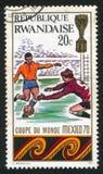 Football. RWANDA - CIRCA 1970: stamp printed by Rwanda, shows Football, circa 1970 royalty free stock image