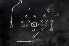 Football X's and O's. Diagram of football play on black chalkboard Stock Photo