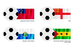 Football with Samoa, Sark, San Marino and Sao Tome Royalty Free Stock Photography