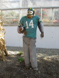 Football scarecrow. A cool scarecrow is done in a helmet and sweats holding a football Royalty Free Stock Photography