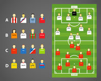 Football scheme. Game scheme with collection of football players Royalty Free Stock Photo