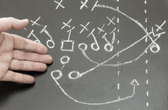 Football Scheme. Hand pointed on american football scheme writed on chalkboard stock photo
