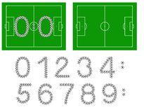 Football score. Numbers made of balls with pitch Stock Photo