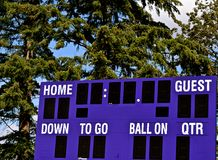 Football Score Board. Empty football score board waiting for a game Stock Image