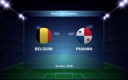 Football scoreboard. Belgium vs Panama, football scoreboard broadcast graphic soccer template Royalty Free Stock Images