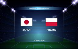 Football scoreboard. Japan vs Poland football scoreboard broadcast graphic soccer template Stock Image