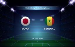 Football scoreboard. Japan vs Senegal football scoreboard broadcast graphic soccer template Royalty Free Stock Photo