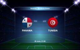 Football scoreboard. Panama vs Tunisia football scoreboard broadcast graphic soccer template Royalty Free Stock Photo