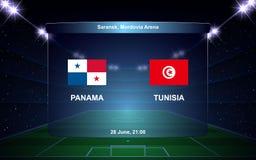 Football scoreboard. Panama vs Tunisia football scoreboard broadcast graphic soccer template Royalty Free Stock Photography