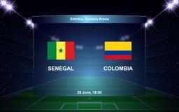 Football scoreboard. Senegal vs Colombia football scoreboard broadcast graphic soccer template Royalty Free Stock Photography
