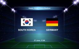 Football scoreboard. South Korea vs Germany football scoreboard broadcast graphic soccer template Stock Image
