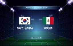 Football scoreboard. South Korea vs Mexico football scoreboard broadcast graphic soccer template Stock Images