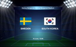 Football scoreboard. Sweden vs South Korea. football scoreboard broadcast graphic soccer template Stock Photo