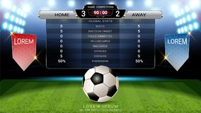 Football scoreboard team A vs team B and global stats broadcast graphic soccer template. For your presentation of the match results royalty free illustration