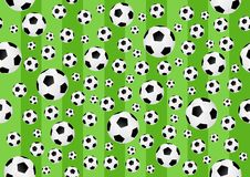 Football seamless background - cdr format. Football background with balls and stripped field Royalty Free Stock Image
