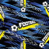 Football seamless pattern for boy. Sports balls on background Stock Image