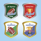 Football. Set of labels with text and football balls or trophies. Vector illustration Royalty Free Stock Photography