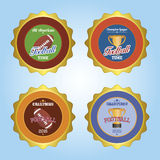 Football. Set of labels with text and football balls or trophies. Vector illustration Royalty Free Stock Image