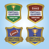 Football. Set of labels with text and football balls or trophies. Vector illustration Stock Photography