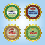 Football. Set of labels with text and football balls or trophies. Vector illustration Stock Image