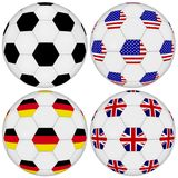 Football set on transparent and white isolated background. Classic ball and United States of America, United Kingdom, Germany patterned by flags Royalty Free Stock Photography