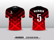 Football shirt design T-shirt sports black and red color. Inspired by the abstract. Front view and rear EPS10 illustration stock illustration
