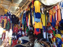 Football shirts on a market in N'Djamena, Chad royalty free stock image