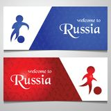 Football shoot action on sunset background,silhouette style blue and red color. Vector illustration Stock Photo