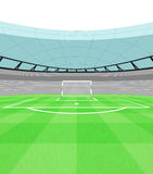 Football shooter goal view on playground vector Royalty Free Stock Photos