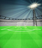 Football shooter goal view with shiny reflector at night vector Stock Images