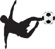 Football silhouette of flying kick. Illustration of a soccer player flying kick and a ball Royalty Free Stock Photo