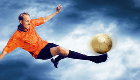 Football on the sky Royalty Free Stock Images