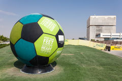 Football with slogans in Doha Education City Royalty Free Stock Photo