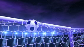 Football is slowly flying in the goal