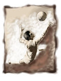 Football or soccer 01. Keeper jumping to the ball stock illustration
