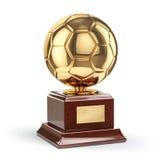 Football or soccer award. Golden trophy cup. Stock Photos