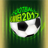 Football 2017. Soccer ball on the background of a stylized football field. Summer. Vector Illustration. EPS royalty free illustration