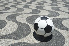 Football Soccer Ball on Copacabana Boardwalk Rio Brazil Royalty Free Stock Photography
